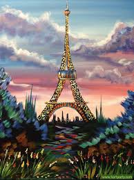 eiffel tower with pin sky and flowers painting by cinnamon ey the art sherpa