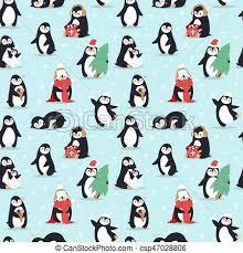 cute penguin pattern wallpaper. Beautiful Cute Christmas Penguins Seamless Pattern Vector In Cute Penguin Wallpaper