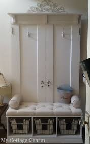 my cote charm how to build a coat rack bench from old doors full tutorial mudroom bench old door crafts
