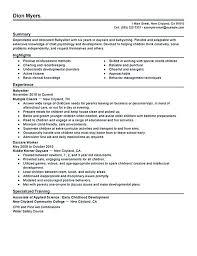 Daycare Resume Objective Caregiver Resume Objective Babysitter