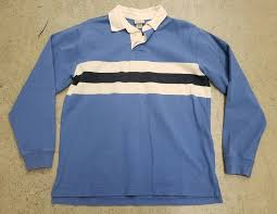details about ll bean mens rugby polo shirt blue white navy blue size medium euc heavy cotton