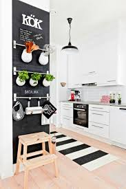 Kitchen, Multiple Supports On Wall That Is Little Patterned Carpet And  Chalkboard For Home Above
