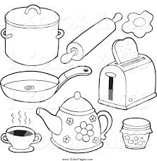 Small Picture Vector Coloring Page of Black and White Kitchen Items by visekart