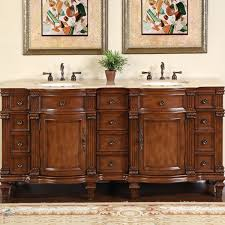Amazon.com: Silkroad Exclusive Travertine Stone Top Double Sink ...