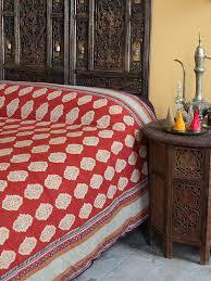e route red orange moroccan indian bedspread