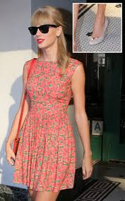 Small Picture Taylor Swifts Orange strawberry print dress and nude bow heels in