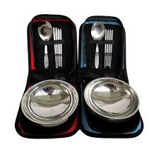 single cutlery set. Beautiful Single Stainless Steel Portable Folding Barbecue Bowl Single Camping Cutlery Set  Supplies Kitchen Tableware On A