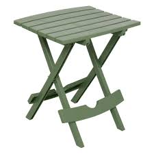 adams manufacturing quik fold sage resin plastic outdoor side table