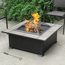 Axxonn 34 Tuscan Ceramic Tile Top Fire Pit Antique Bronze Wood Burning Fire Bowl Walmart Com Walmart Com