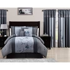 Chezmoi Collection 7 Piece Embroidered Floral Bed In A Bag Comforter Set  Queen, Gray Blue