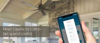 vaulted ceiling home with smart fan controlled by lutron caséta phone app and pico remote