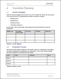 Transition Plan Template Word Transition Plan Template Ms Word Excels Templates