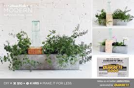 homemade modern diy self watering concrete planter postcard
