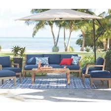 wood patio furniture. Bermuda 6-Piece All-Weather Eucalyptus Wood Patio Deep Seating Set With Indigo Fabric Furniture