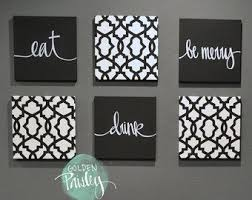 black white eat drink be merry wall art 6 pack canvas wall hanging painting fabric dining room black white decor kitchen wall art sign set on food and drink canvas wall art with beige wall decor eat drink be merry wall art set canvas wall