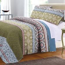 blue quilt bedding. Perfect Quilt Bohemian Boho Blue Green Cotton Quilt Shams Set And Bedding L
