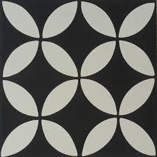 encaustic cement tile a119 a black white