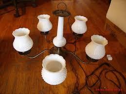vintage milk glass hobnail hanging lamp chandelier