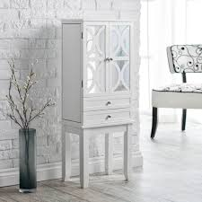 belham living mirrored lattice front jewelry armoire high gloss white com
