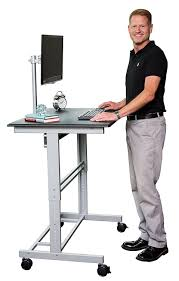Stand Up Desk Store 40 Mobile Adjustable Height Stand Up Desk with Monitor  Mount