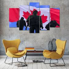 hd print 5 pcs canada flag soldiers canvas wall art painting modern home decor wall art print living room decor painting pt0958 in painting calligraphy  on grey and yellow wall art canada with hd print 5 pcs canada flag soldiers canvas wall art painting modern