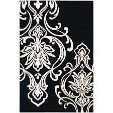 delivered black and white damask rug hand tufted tux pattern wool area 9 x 13 free