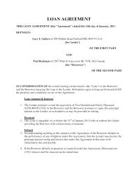 Family Loan Agreement Template Best Of Personal Contract For