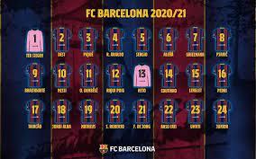 قائمة أسماء و أرقام لاعبي برشلونة موسم 2020/21 - واتس كورة
