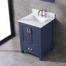 Bathroom Vanity In Navy Blue 24 In X 22 In With Gold Handles And Soft Close Drawers With Dovetail Blue Bathroom Vanity Bathroom Vanity Wood Bathroom Vanity