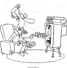 watching tv clipart black and white. vector illustration of a black and white man holding many remotes watching tv clipart n