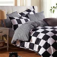whole classic black and white bed linen bedding set king size grid bed sheet set include duvet cover bedsheet pillowcase bedclothes king quilt cover
