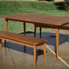 wood carmel mid century style dining bench  world market