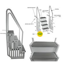 durable and safe heavy duty pool steps for flat bottomed pools