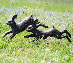 running rabbits metal garden ornament