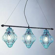 Aquamarine Venetian Baloton Glass Triple Ceiling Light