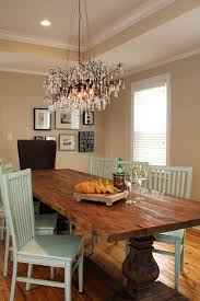 rustic table setting dining room traditional with long dining table wood floor glass chandelier