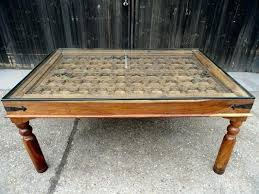 rustic carved wood door table vintage antique coffee dining indian for full size