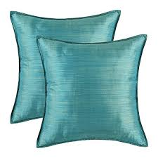 teal throw pillows. Pack Of 2, CaliTime Silky Throw Pillow Covers Cases For Couch Sofa Bed, Modern Light Weight Dyed Striped, 18 X Inches, Teal Pillows