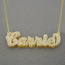 personalized gold double plate name pendant necklace nd05