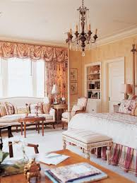 French Country Bedrooms White Bed Clasic Bed Burlap Window Shades Elegant  Plaster Wall Picture Frame Floor Lamp