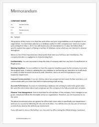 Example Of Office Memorandum Letter Memo To Staff About Duties Responsibilities Word Excel