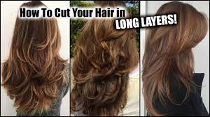 how i cut my hair at home in long layers long layered haircut diy at home updated you