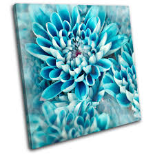 blue and white floral canvas wall art