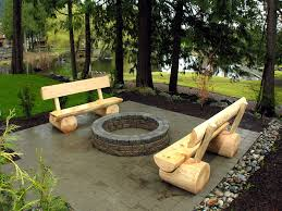 custom built log benches and wood burning fire pit in the flickr regarding for idea 4
