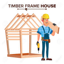 New Home Cartoon Images American Builder Vector Building Timber Frame House New Home