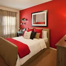 Red accent wall bedroom