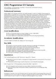 Cnc Programmer Cv Amazing Programmer Resume Example Best Sample