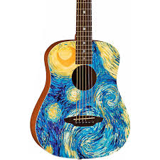 travel size guitar luna guitars safari starry night 3 4 size travel acoustic guitar