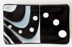 black and white fused glass er dish