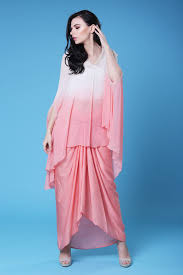 Ladies Lungi Designs Off White Coral Pink Cape And Lungi Set